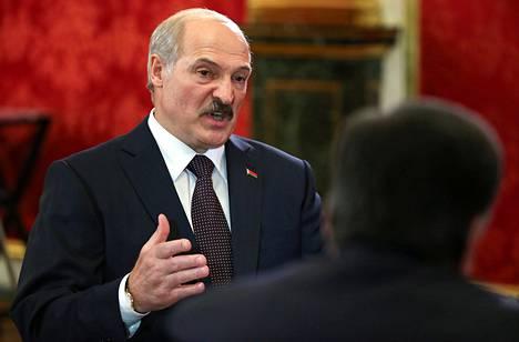 Valko-Venäjän presidentti Aljaksandr Lukašenka vierailulla Kremlissä toukokuussa.