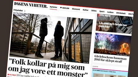 Ruotsalaislehti Dagens Nyheter julkaisi torstaina kahden joukkoraikauksesta syyttömäksi todetun laajan haastattelun. Kuvakaappaus Dagens Nyheterin verkkosivuilta.