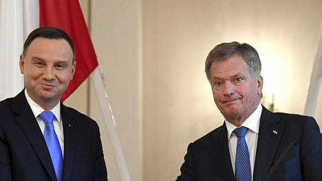 Puolan presidentti Andrzej Duda on Suomessa kolmipäiväisellä valtiovierailulla. Oikealla Suomen presidentti Sauli Niinistö.