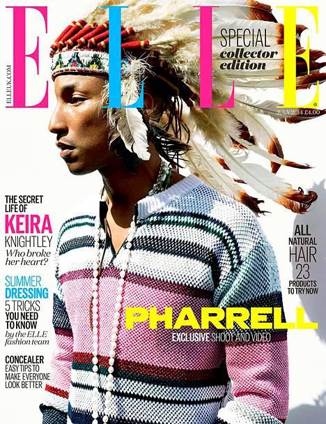 Poplaulaja Pharrell Williams aiheutti neljä vuotta sitten kohun esiintymällä intiaanipäähineessä muotilehden kannessa.