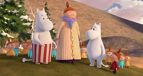 """Ensimmäisessä jaksossa """"Pikku Myy tuli taloon"""" Mymmeli saapuu varoittamatta Muumitaloon villin lapsilaumansa kanssa."""