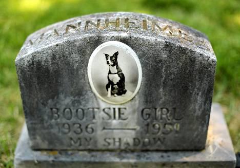 Bootsie Girl-koiran hautakivi Aspin Hillin muistojen puistossa Marylandin osavaltiossa. Yhdysvalloissa vietetään kansallista koirien päivää keskiviikkona.