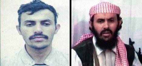 Surmattu al-Qaidan johtaja Qassim al-Rimi kahdessa Jemenin sisäministeriön julkaisemassa päiväämättömässä kuvassa.