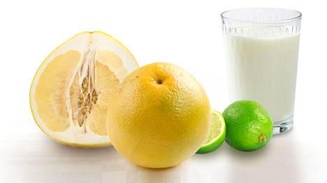 Pomelo, greippi ja limetti avaavat monille lääkeaineille vapaamman pääsyn elimistöön. Maidon kalsium estää raudan ja joidenkin antibioottien imeytymistä.