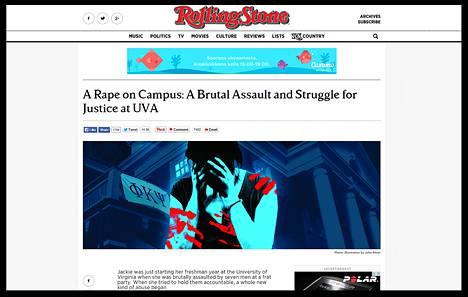 Ruutukaappaus Rolling Stone -lehden uutisesta.