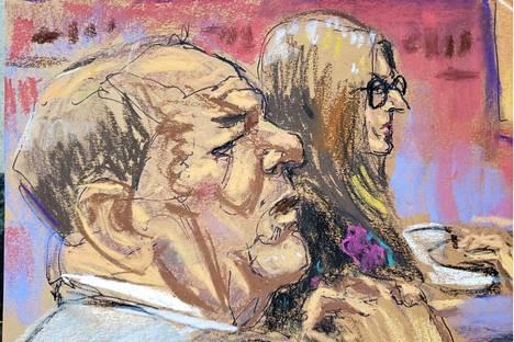 Oikeussalipiirtäjän näkemys Harvey Weinsteinista ja puolustusasianajaja Donna Rotunnosta tiistaina 18. helmikuuta.