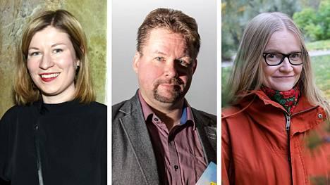 Vappu Kaarenoja (vas.), Pasi Kivioja ja Johanna Vehkoo kuuluvat tämän vuoden journalistiikan työelämäprofessorin tehtävän hakijoihin.
