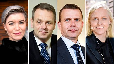 Susanna Koski (vas.), Jan Vapaavuori, Petteri Orpo ja Elina Lepomäki.