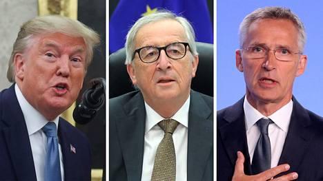 Yhdysvaltain presidentti Donald Trump (vas.), Euroopan komission puheenjohtaja Jean-Claude Juncker ja Naton pääsihteeri Jens Stoltenberg.