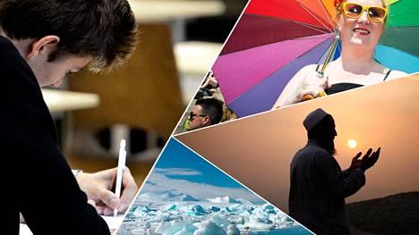 Ylioppilaskokeiden ajankohtaiset aiheet liittyvät usein runsas vuosi sitten pinnalla olleisiin asioihin.