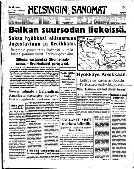 Helsingin Sanomat uutisoi 7.4.1941 Saksan hyökkäyksestä Jugoslaviaan ja Kreikkaan.