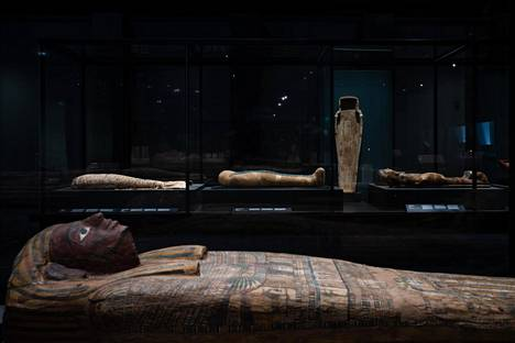 The three mummies are housed in a respectfully quiet                space.