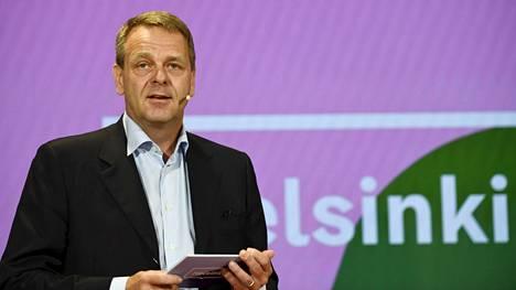 Pormestari Jan Vapaavuori (kok) puhui Helsingin sataman tiedotustilaisuudessa keskiviikkona.