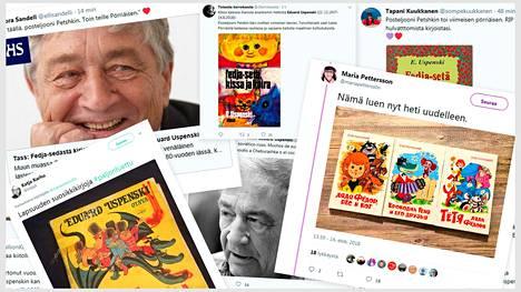 Sosiaalisessa mediassa muisteltiin Eduard Uspenskia. Kuvakaappaukset Twitteristä.