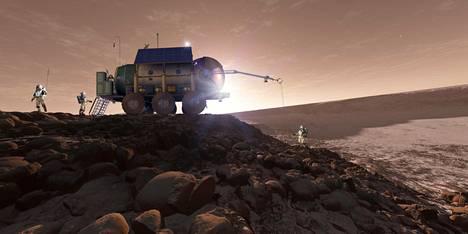 Taiteilijan näkemys astronauteista tekemässä tutkimustyötä Mars-planeetan pinnalla.