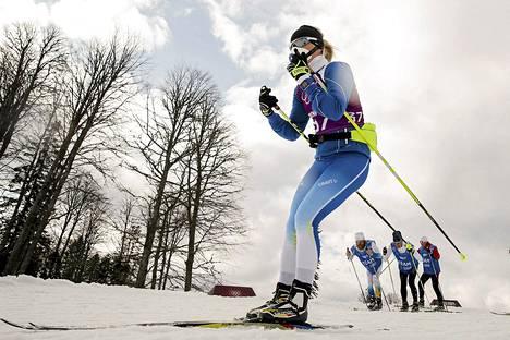 Riikka Sarasoja-Lilja olympialaisten harjoituksissa helmikuussa 2014.