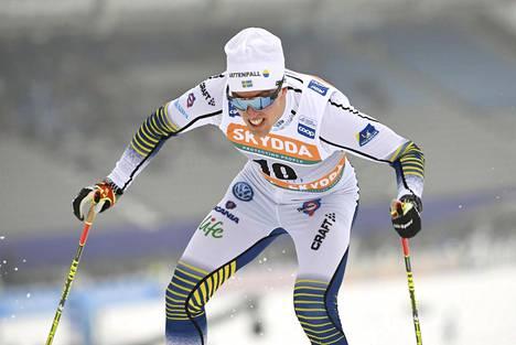Calle Halfvarsson Lahden maailmancupin kisoissa helmikuun alussa.