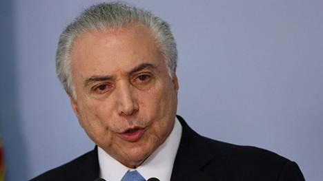 Brasilian presidentti Michel Temeriä koskeneet lahjussyytteet hylättiin.