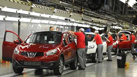 Nissanin Sunderlandin-tehtaan autotuotantoa vuonna 2010.