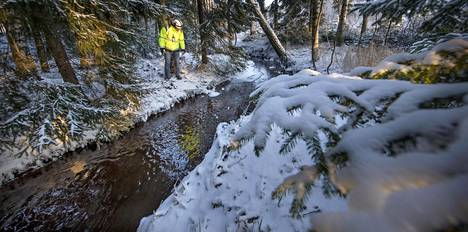 Projektijohtaja Jouni Hyvärinen tutkii kirkkaana virtaavaa Saarasjärvenojan vettä.