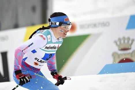 Krista Pärmäkoski oli huippukunnossa koko kauden. Kuva Lahden MM-kisoista.