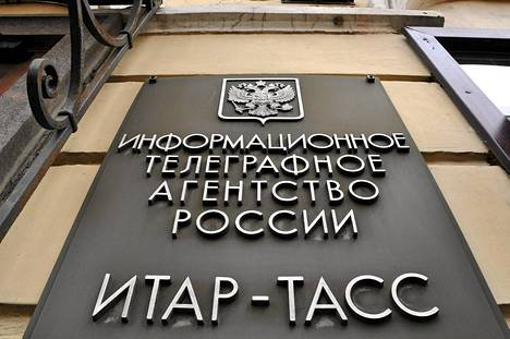 Uutistoimisto Itar-Tassin kyltti Pietarin aluetoimiston ulkopuolella vuonna 2010. Sittemmin toimisto on lyhentänyt nimensä Tassiksi.