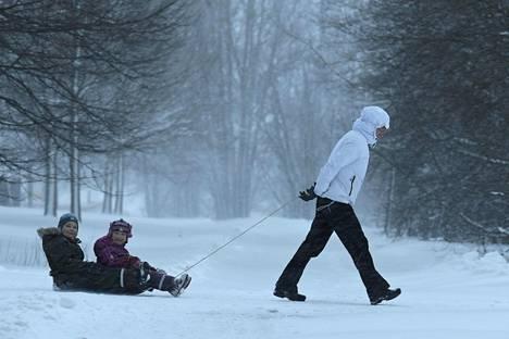 Äiti veti lapsia pulkassa lumipyryssä Helsingissä tiistaina.