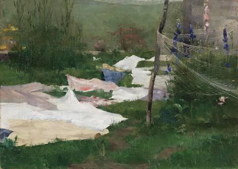 Vuonna 1883 Helene Schjerfbeck maalasi muun muassa teoksen Vaatteita kuivumassa.