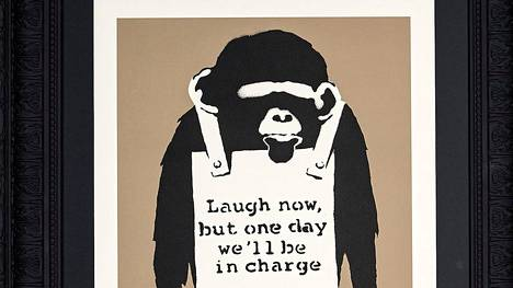 Banksy: Laugh Now, 2004, serigrafia, yksityiskokoelma.