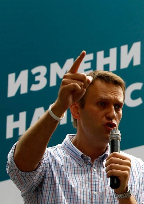 Moskovan pormestariksi pyrkivä Aleksei Navalnyi puhui kannattajilleen heinäkuussa Moskovassa.
