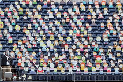 """South Parkin hahmot """"seurasivat"""" sunnuntaina NFL-liigan ottelua Denverissä."""