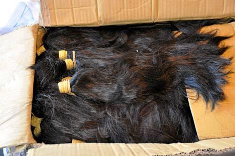 Tullin julkaisema kuva Sao Paolon lentokentältä tiistaina takavarikoiduista hiuksista.