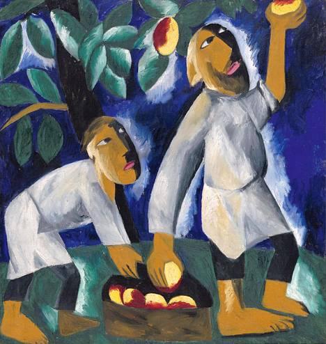 Natalia Gontšarova: Talonpojat keräävät omenoita (1911).