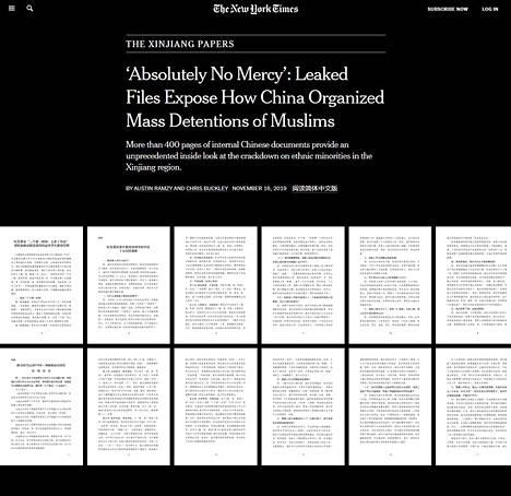 The New York Times -sanomalehti julkaisi vuosi sitten Kiinan hallinnosta vuotaneita dokumentteja, jotka paljastivat uiguurien kohtelun suunnitelmallisuuden.