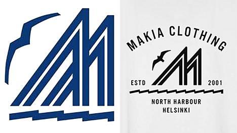 Vasemmalla Merenkävijät-pursiseuran logo ja oikealla kuviointi Makia Clothingin tuotteessa.