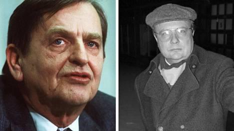 Olof Palme joulukuussa 1983 ja Stig Engström, eli Skandia-mies vuonna 1986.