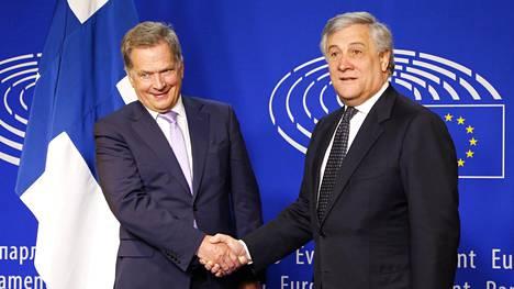 Presidentti Sauli Niinistö tapasi Euroopan parlamentin puhemiehen Antonio Tajanin EU-parlamentissa Brysselissä keskiviikkona.