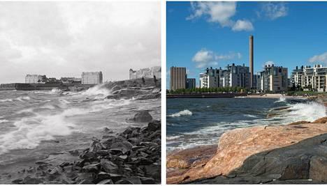 Ursinin kalliot vuonna 1913 ja nyt. Taustalla näkyvät uudet meri-Eiran kerrostalot.
