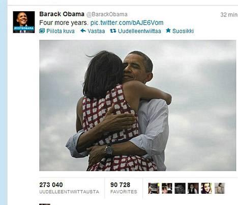 Barack Obaman ja hänen vaimonsa Michelle Obaman halauskuvaa jaettiin Twitterissä satojatuhansia kertoja.