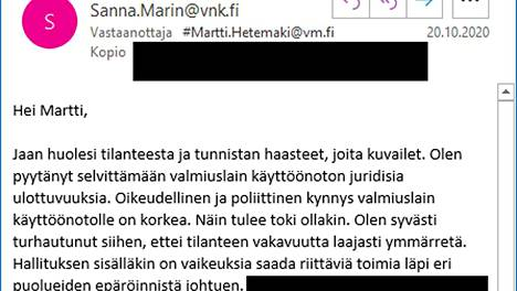 Tämän sähköpostivastauksen pääministeri Marin lähetti Martti Hetemäelle lokakuussa.