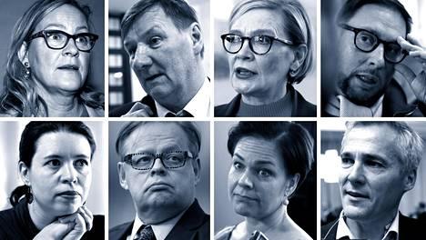 Eva Biaudet (vas. ylh.), Jukka Gustafsson, Paula Risikko, Paavo Arhinmäki, Anna Kontula, Juhana Vartiainen, Hannakaisa Heikkinen ja Anders Adlercreutz.
