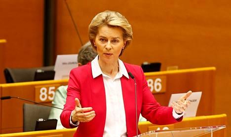 Euroopan komission puheenjohtaja Ursula von der Leyen puhui Euroopan parlamentissa Brysselissä keskiviikkona.