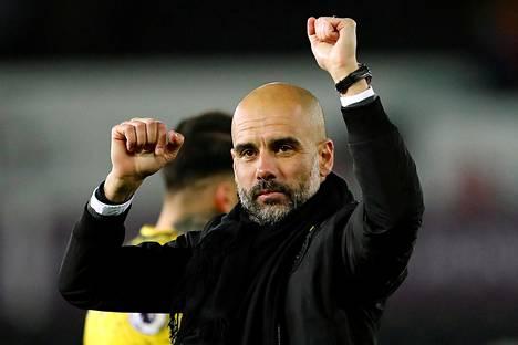 Manchester Cityn päävalmentaja Pep Guardiola tekee joukkueensa kanssa selvää jälkeä kaikissa kilpailuissa.
