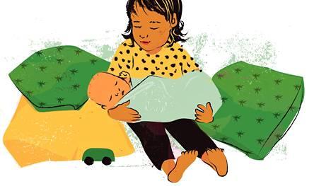 Esikoista kannattaa kehua, kun hän on vauvan kanssa nätisti.