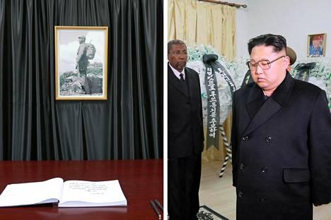 Pohjois-Korean johtaja Kim Jong-un kävi jättämässä surunvalittelunsa Kuuban suurlähetystössä Fidel Castron kuoleman jälkeen marraskuussa 2016.