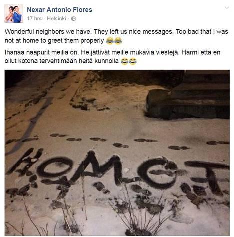 Antonio Flores jakoi kotipihalleen ilmestyneestä tekstistä otetun valokuvan tiistai-iltana julkisena päivityksenä Facebookissa.