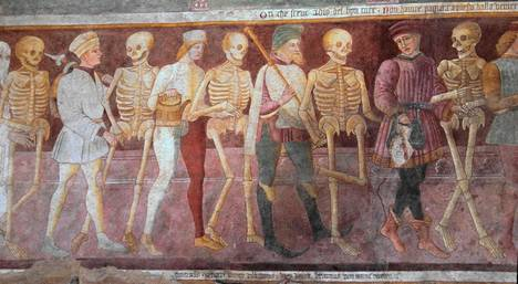 Kuolemantanssi Giacomo Borlone de Buschisin maalaamassa kirkkofreskossa Clusonessa, Italiassa.