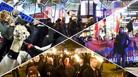 Viime vuonna vietettiin Suomen satavuotisjuhlaa. Itsenäisyyspäivänä Helsingissä pidettiin useita mielenosoituksia, ja lasten alpakkatapahtumasta tuli puheenaihe.