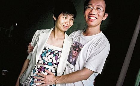 Zeng Jinyan ja Hu Jia kotonaan Pekingissä heinäkuussa 2007.
