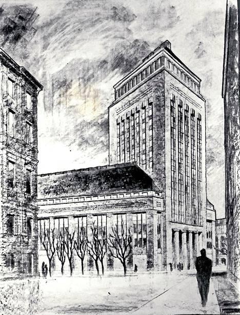 Arkkitehti Sigurd Frosterus suunnitteli Stockmannin tavaratalon laajennukseksi pilvenpiirtäjää vuonna 1922.